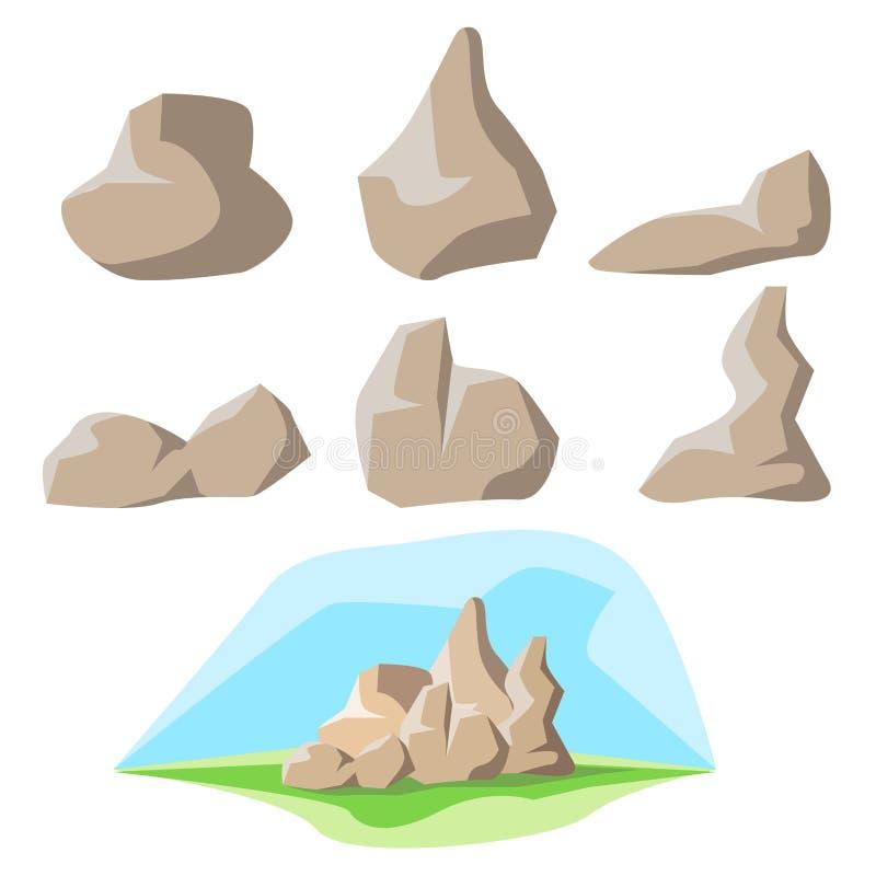 Jogo e fundo da rocha ilustração stock