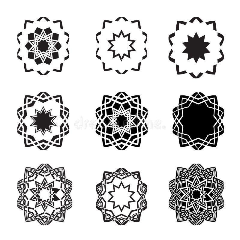 Jogo e logotipos abstratos distorcidos do ícone da estrela ilustração royalty free
