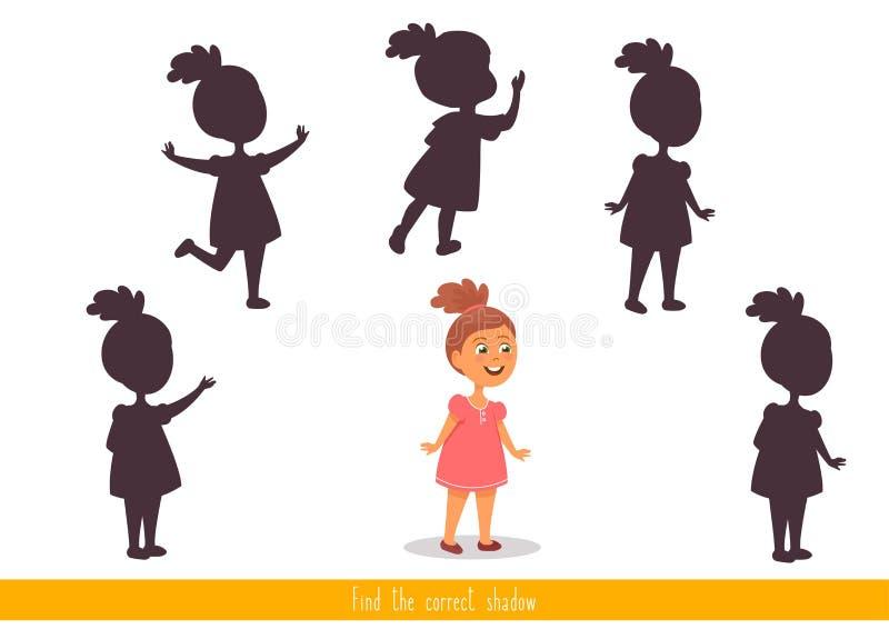 Jogo educacional da l?gica do jogo das crian?as para crian?as Encontre a sombra correta ilustração stock