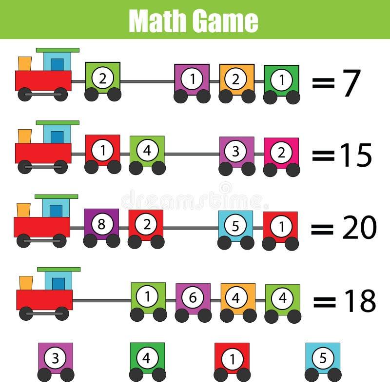 Jogo educacional da matemática para crianças Aprendendo a adição ilustração royalty free