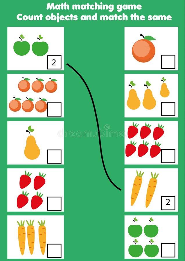 Jogo educacional da matemática para crianças Atividade de harmonização da matemática contando o jogo para miúdos ilustração do vetor