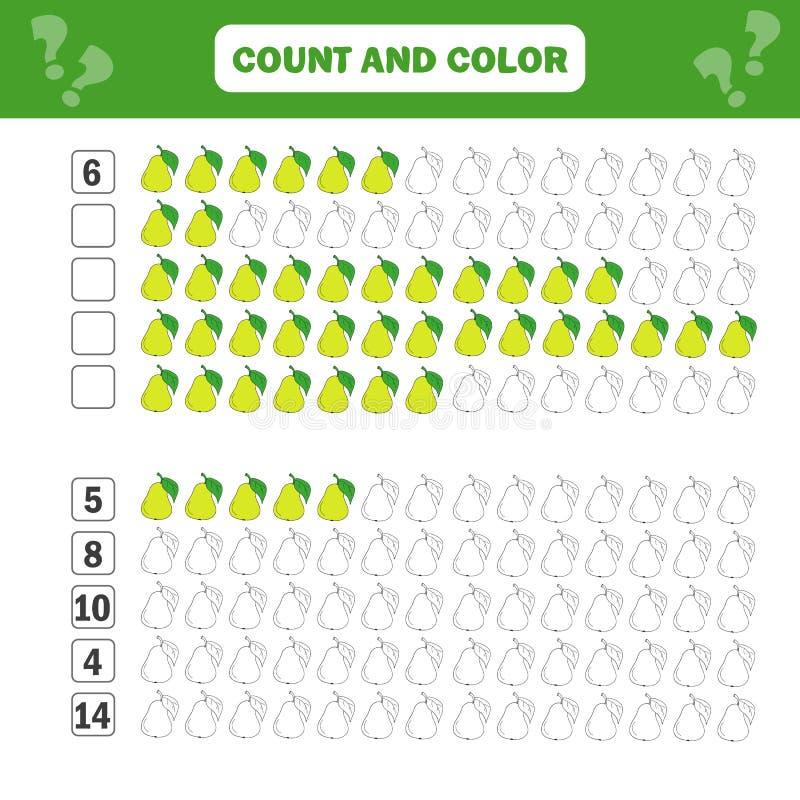 Jogo educacional da matemática para crianças Contando equações Folha da adição ilustração royalty free