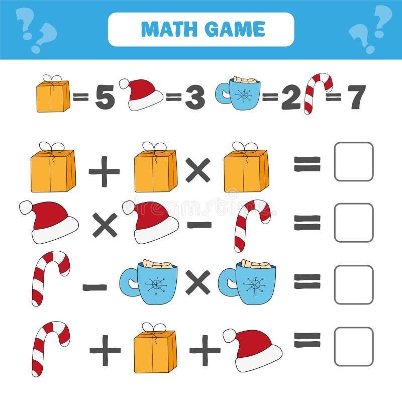 Jogo educacional da matemática para crianças Contando a folha das equações ilustração do vetor
