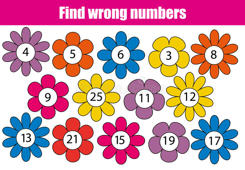 Jogo educacional da matemática para crianças Encontre números errados ilustração do vetor
