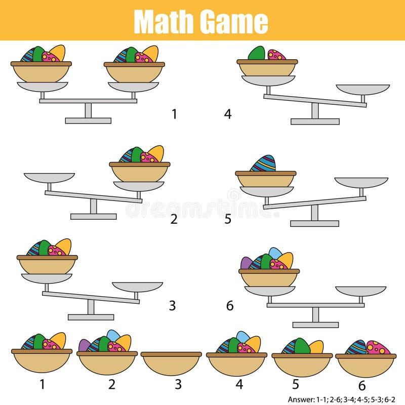 Jogo educacional da matemática para crianças equilibre a escala Ovos de Easter na cesta ilustração royalty free