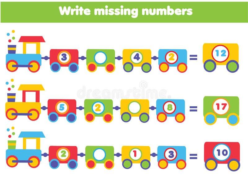 Jogo educacional da matemática para crianças Escreva os números faltantes ilustração stock