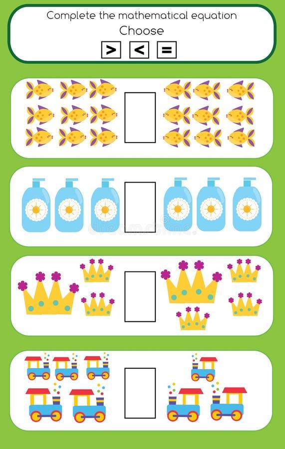 Jogo educacional da matemática para crianças Termine a tarefa matemática da equação, escolha mais, menos ou o igual ilustração royalty free