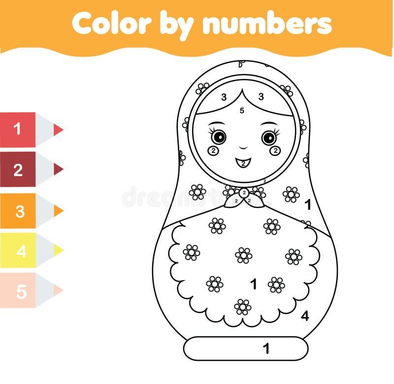 Jogo educacional das crianças Página da coloração com boneca do matreshka Cor pela atividade imprimível dos números ilustração stock