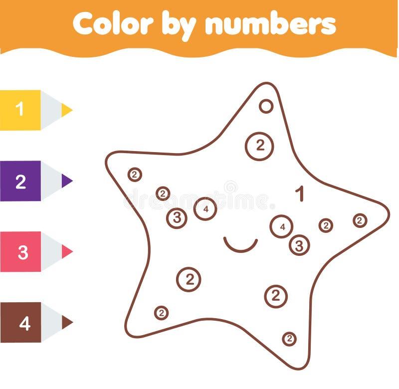 Jogo educacional das crianças Página da coloração com sarfish bonitos Cor por números, atividade imprimível ilustração do vetor