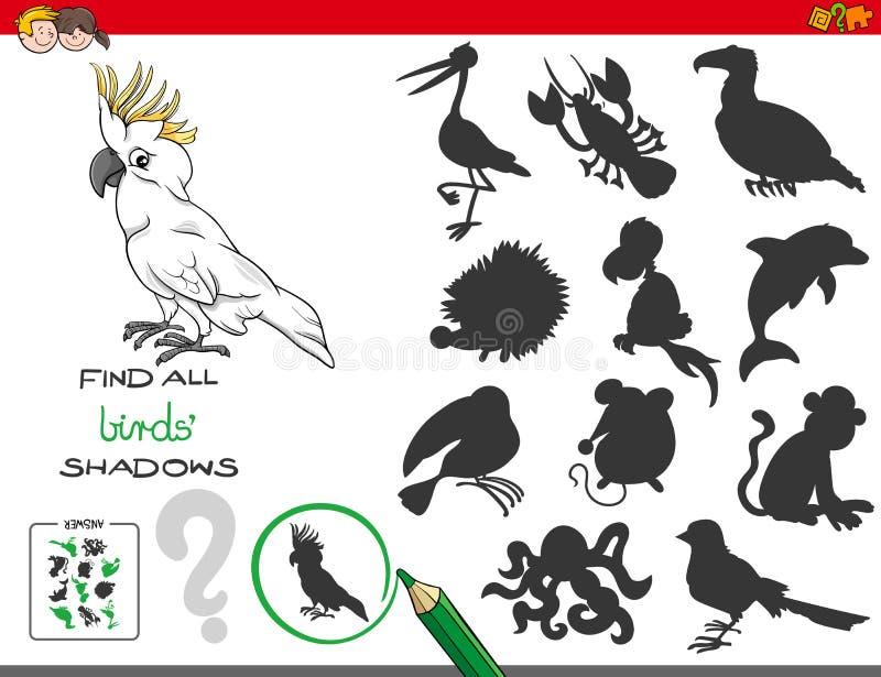 Jogo educacional das sombras com caráteres dos pássaros ilustração do vetor