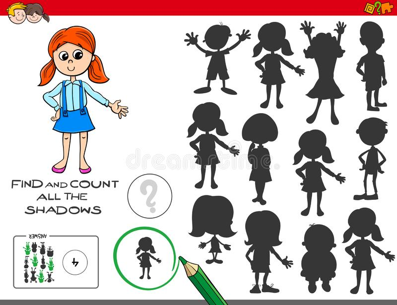 Jogo educacional das sombras com menina bonito ilustração royalty free