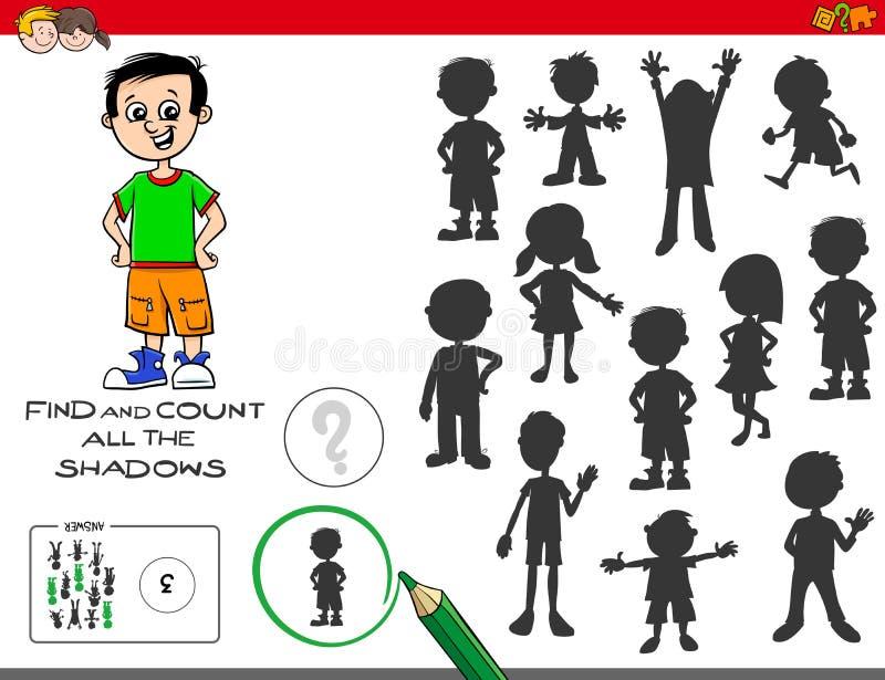 Jogo educacional das sombras com menino bonito ilustração royalty free