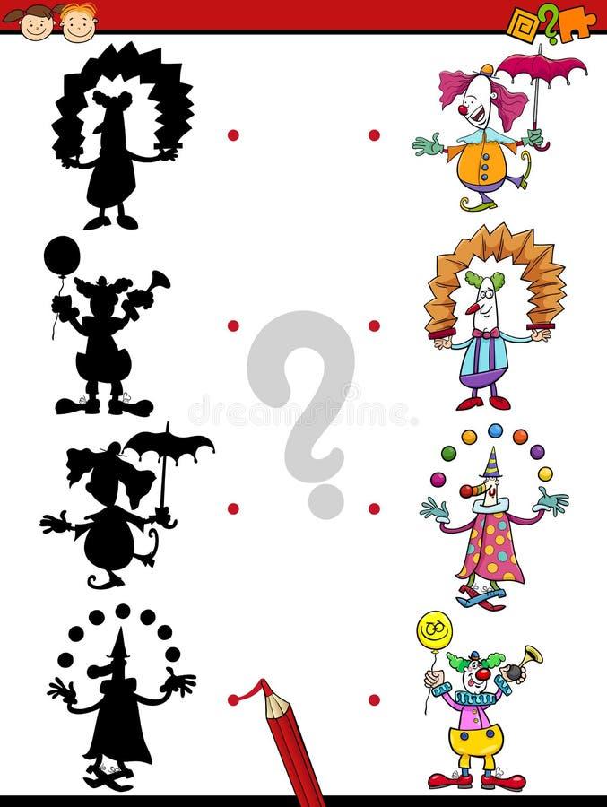 Jogo educacional das sombras para crianças ilustração stock