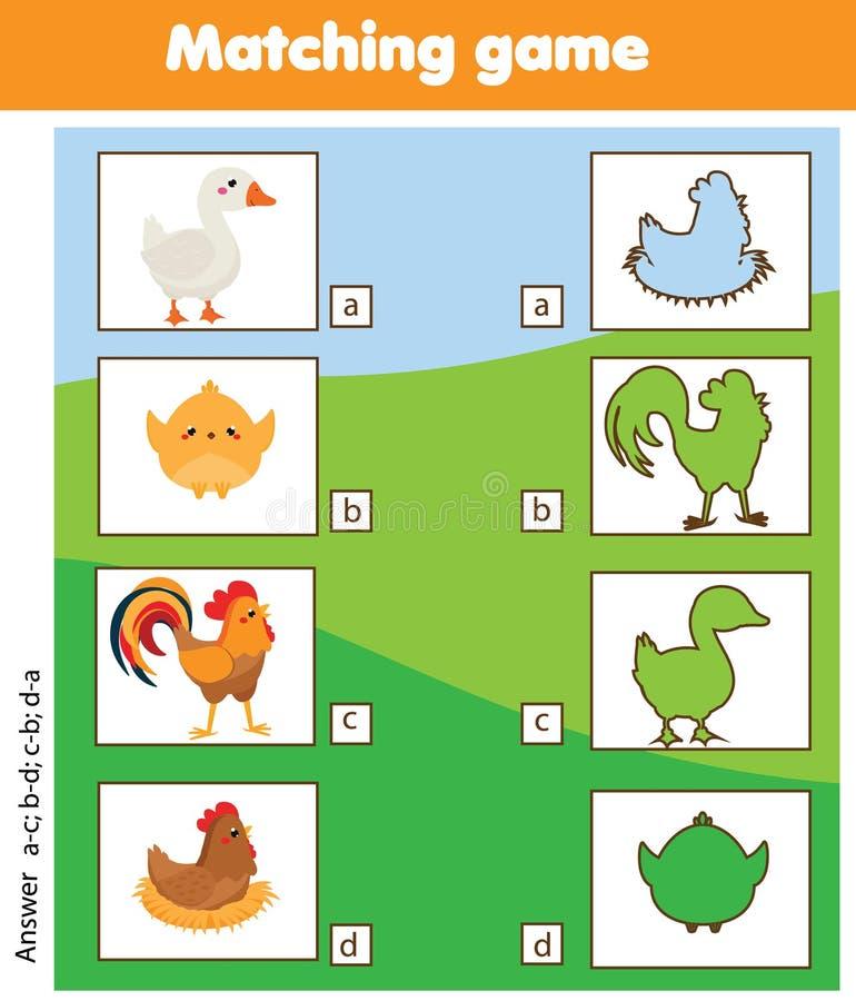 Jogo educacional de harmonização das crianças da silhueta Caçoa a atividade com pássaros da exploração agrícola ilustração do vetor
