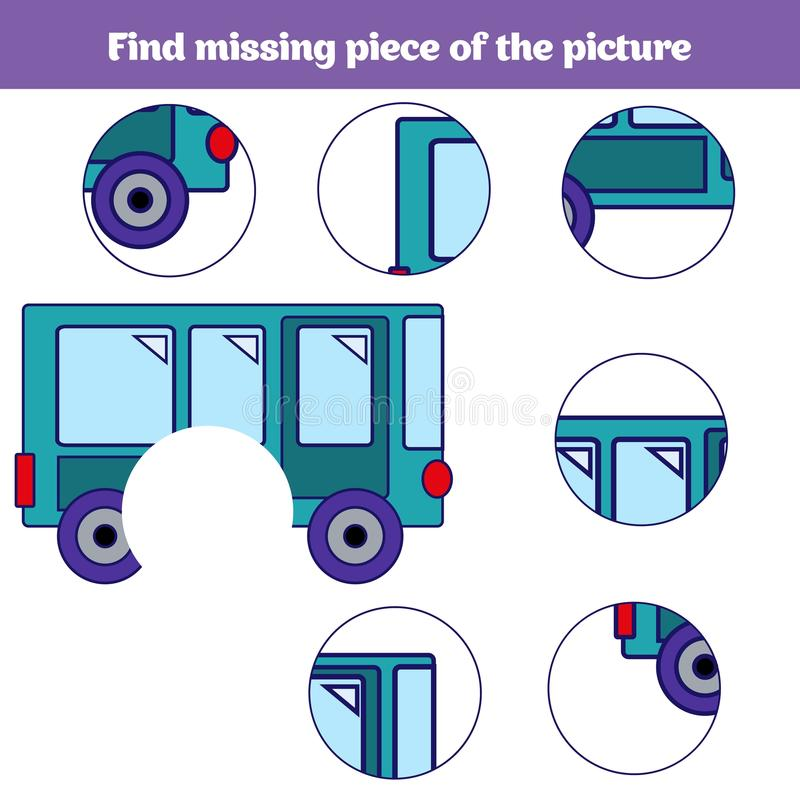Jogo educacional de harmonização das crianças Peças dos insetos do fósforo Encontre enigma faltante Atividade para pre crianças d ilustração do vetor
