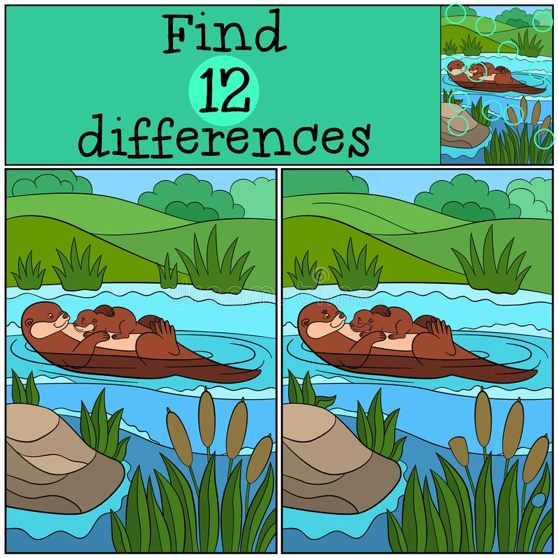 Jogo educacional: Diferenças do achado Lontra da mãe com seu bebê ilustração do vetor