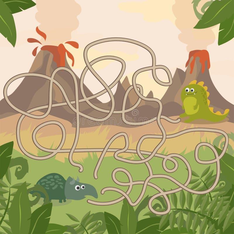 Jogo educacional do labirinto Reunião dos dinossauros da ajuda Divertimento para crianças prées-escolar dos anos ilustração stock