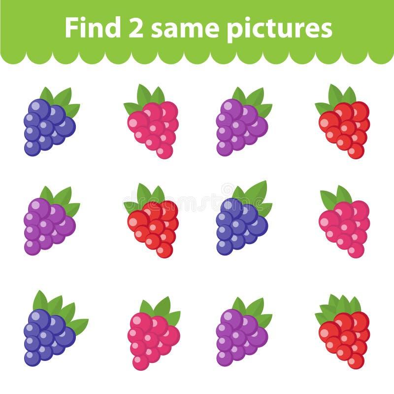 Jogo educacional do ` s das crianças Achado dois as mesmas imagens Grupo da framboesa, amora-preta, para o achado dois do jogo as ilustração royalty free