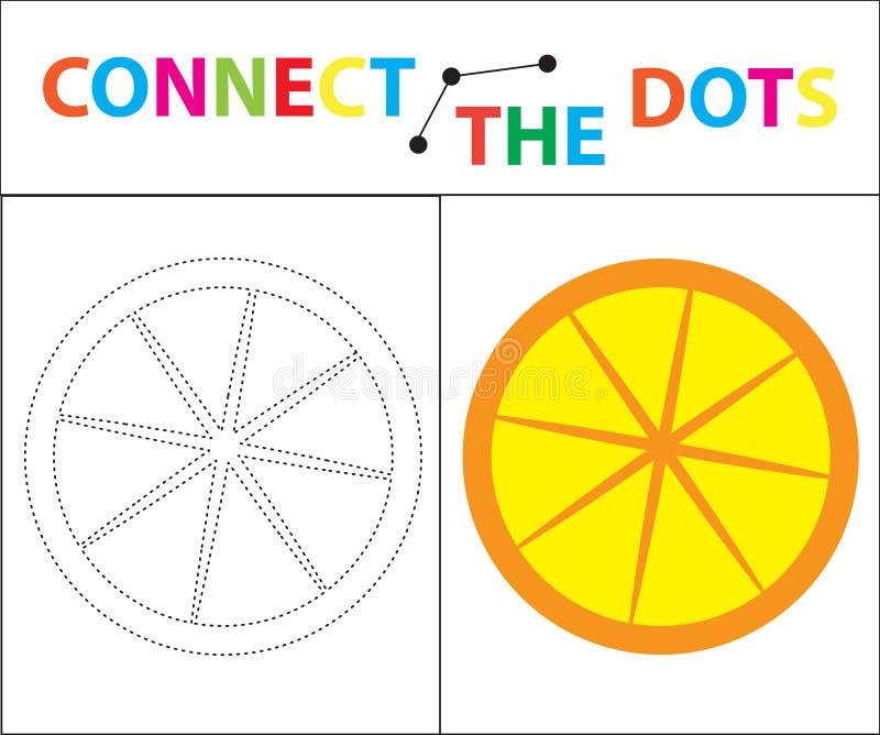 Jogo educacional do ` s das crianças para habilidades de motor Conecte a imagem dos pontos Para crianças da idade pré-escolar Cír ilustração stock