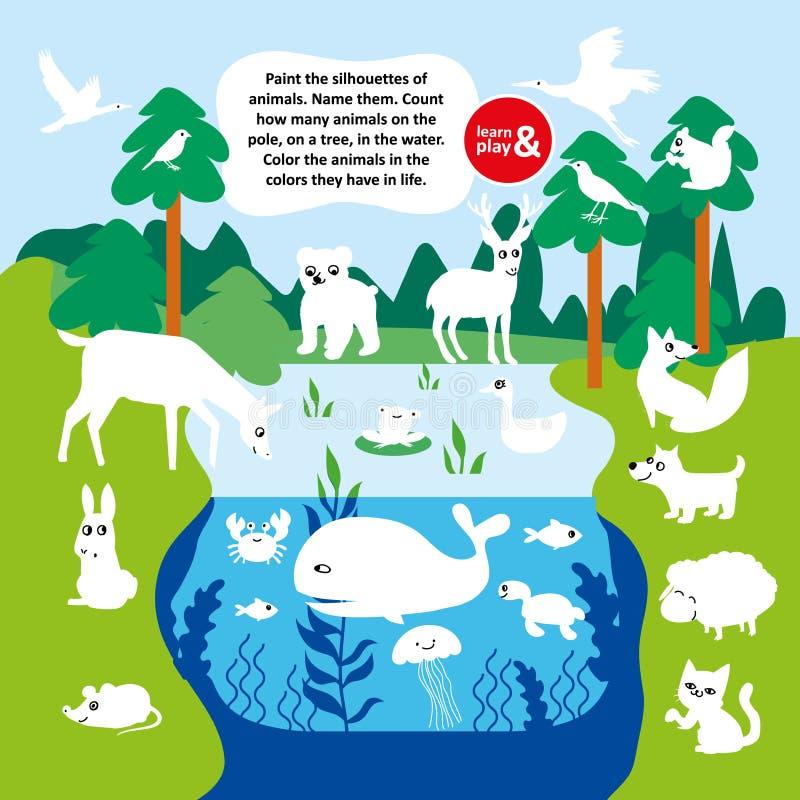 Jogo educacional para a criança Silhuetas da pintura dos animais Número da contagem dos peixes animais do pássaro no campo no lag ilustração stock