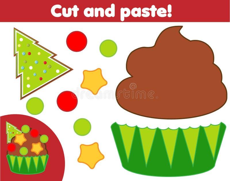 Jogo educativo infantil criativo Atividade de corte de papel Faça um Ano Novo, um cupcake de Natal com cola e tesoura ilustração royalty free
