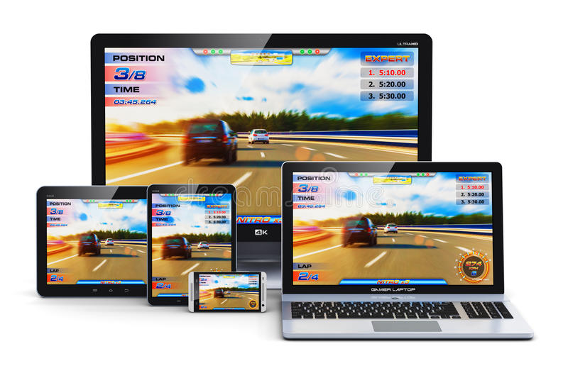 Jogo em dispositivos modernos do computador ilustração stock