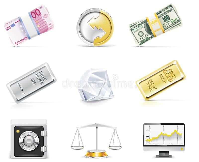 Jogo em linha do ícone da operação bancária do vetor. Parte 5