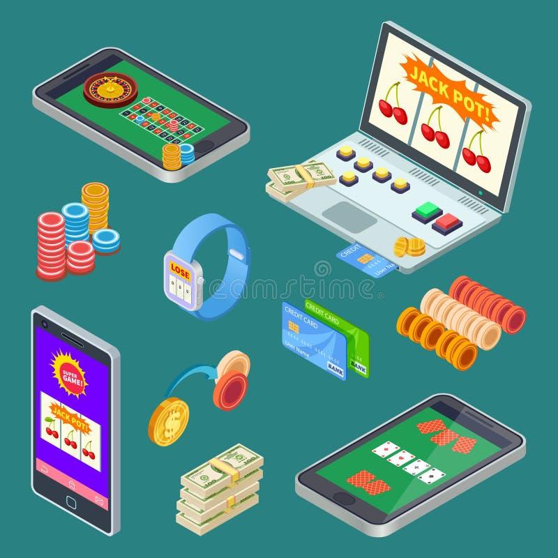Jogo em linha, elementos isométricos do vetor do app do casino ilustração do vetor