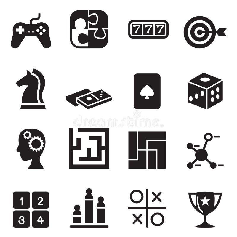 Jogo, enigma, dado, labirinto, serra de vaivém, ícones do slot machine ilustração do vetor
