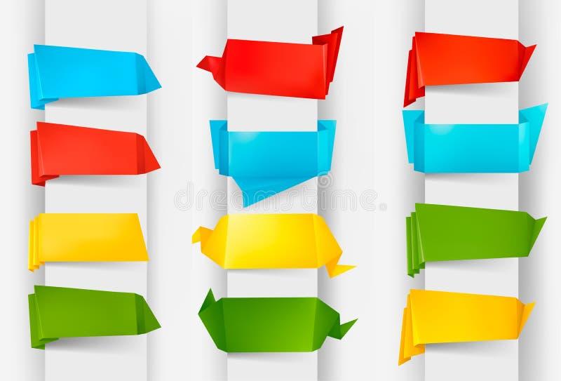 Jogo enorme de bandeiras coloridas do papel do origami ilustração do vetor