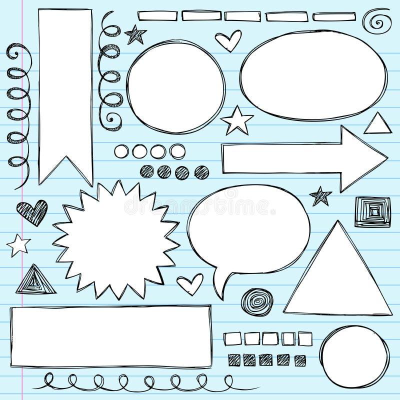 Jogo esboçado do vetor do Doodle dos frames das formas