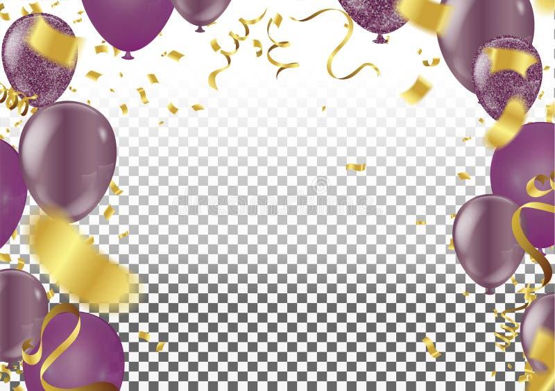 jogo Esferas de ar Ouro e balões roxos Fundo festivo Ri ilustração stock