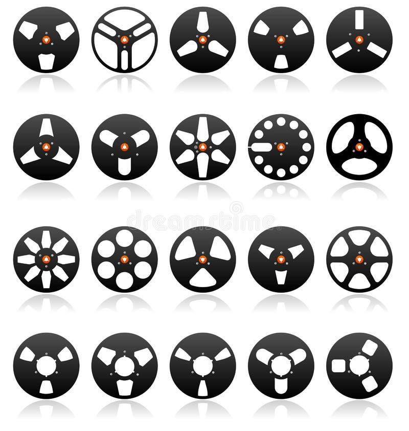 Jogo estereofónico análogo do ícone dos carretéis de fita, vetor ilustração royalty free