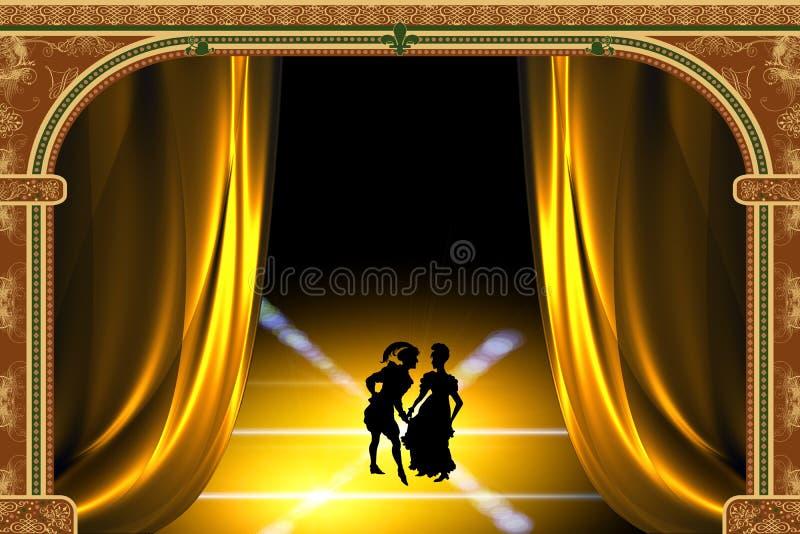 Jogo estilizado no teatro ilustração royalty free