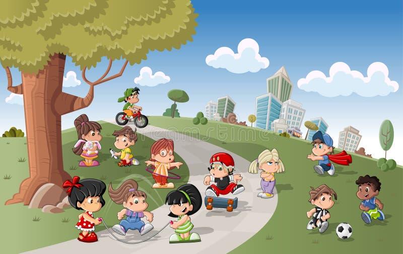 Jogo feliz bonito dos miúdos dos desenhos animados ilustração stock