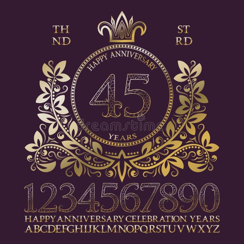Jogo feliz do sinal do aniversário Números dourados, alfabeto, quadro e algumas palavras para criar emblemas da celebração ilustração stock