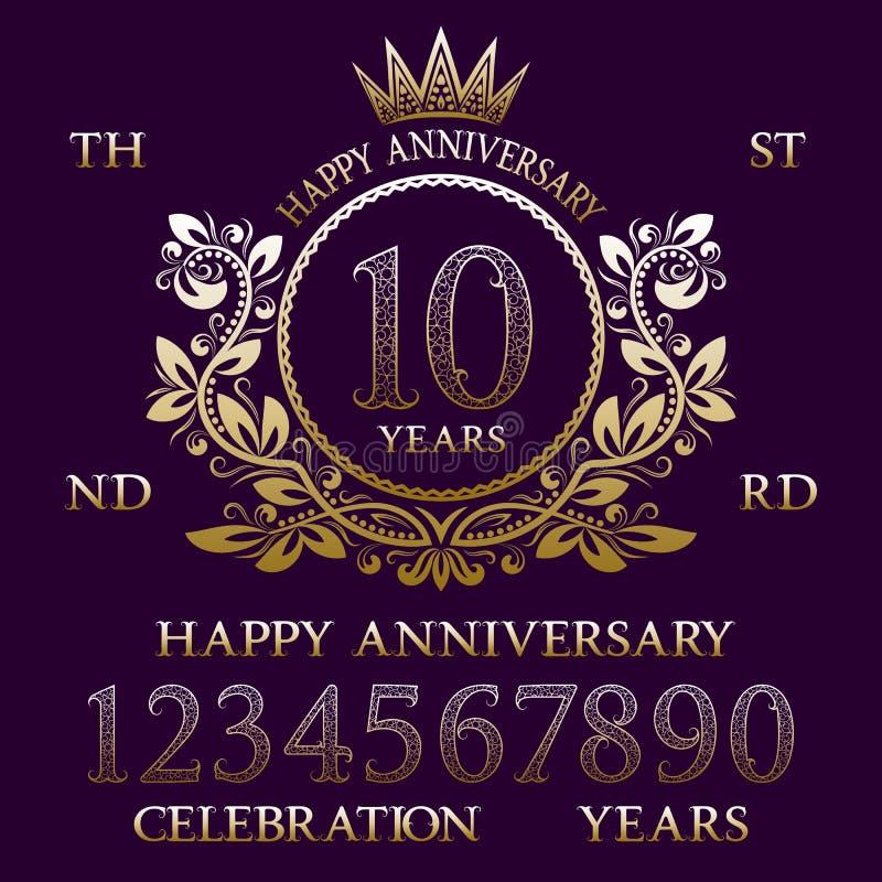 Jogo feliz do sinal do aniversário Números dourados, quadro e algumas palavras para criar emblemas da celebração ilustração do vetor