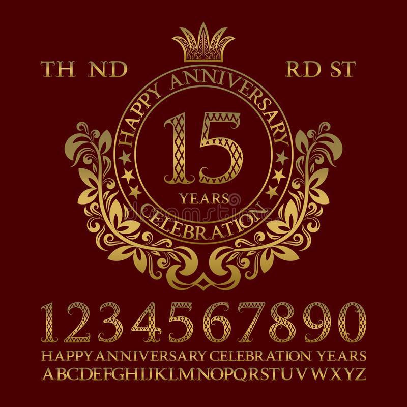 Jogo feliz do sinal da celebração do aniversário Números dourados, alfabeto, quadro e algumas palavras para criar emblemas congra ilustração royalty free