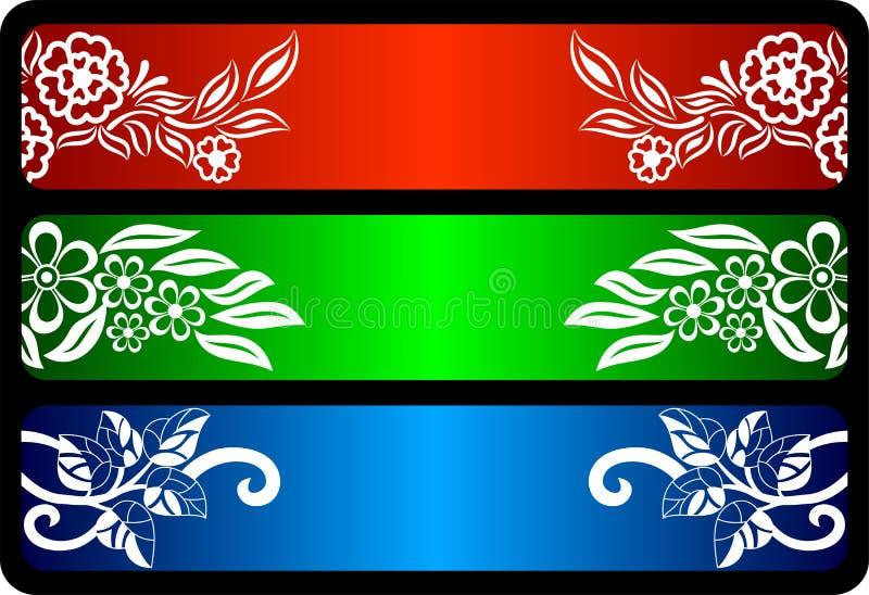 Jogo floral da bandeira ilustração stock