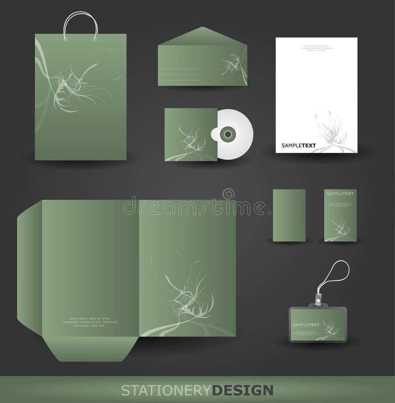 Jogo floral do projeto dos artigos de papelaria ilustração do vetor