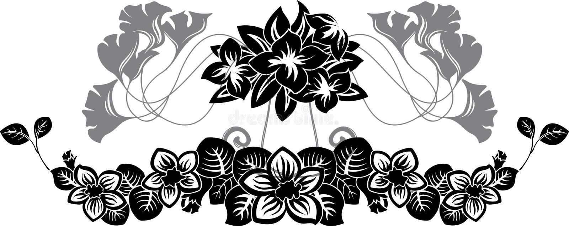 Jogo floral do teste padrão do estêncil ilustração do vetor