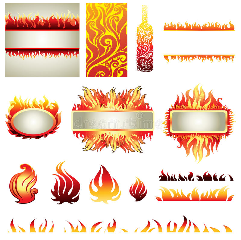 Jogo grande de elemets do projeto do incêndio ilustração do vetor