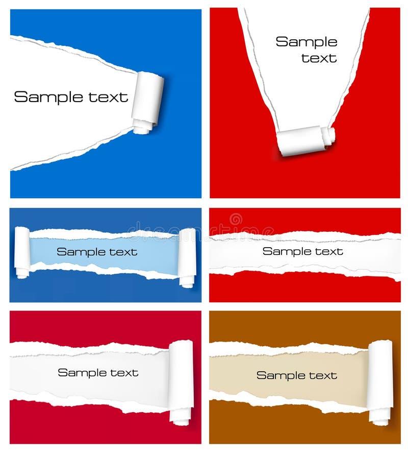 Jogo grande de fundos de papel coloridos rasgados. ilustração stock