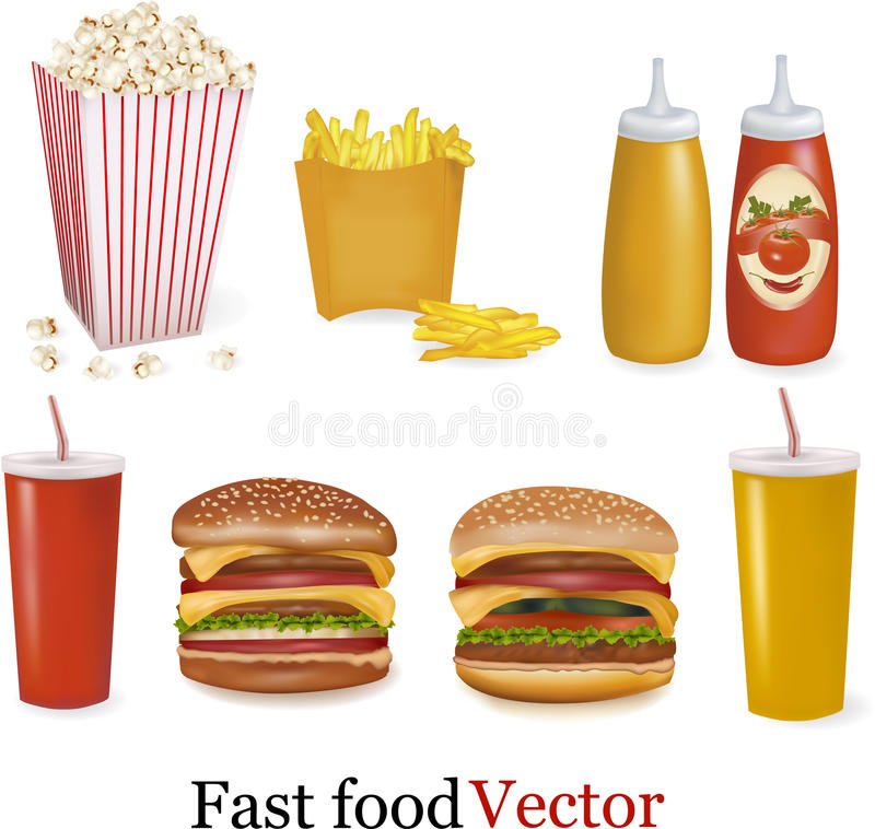 Jogo grande de produtos do fast food. Vetor. ilustração stock