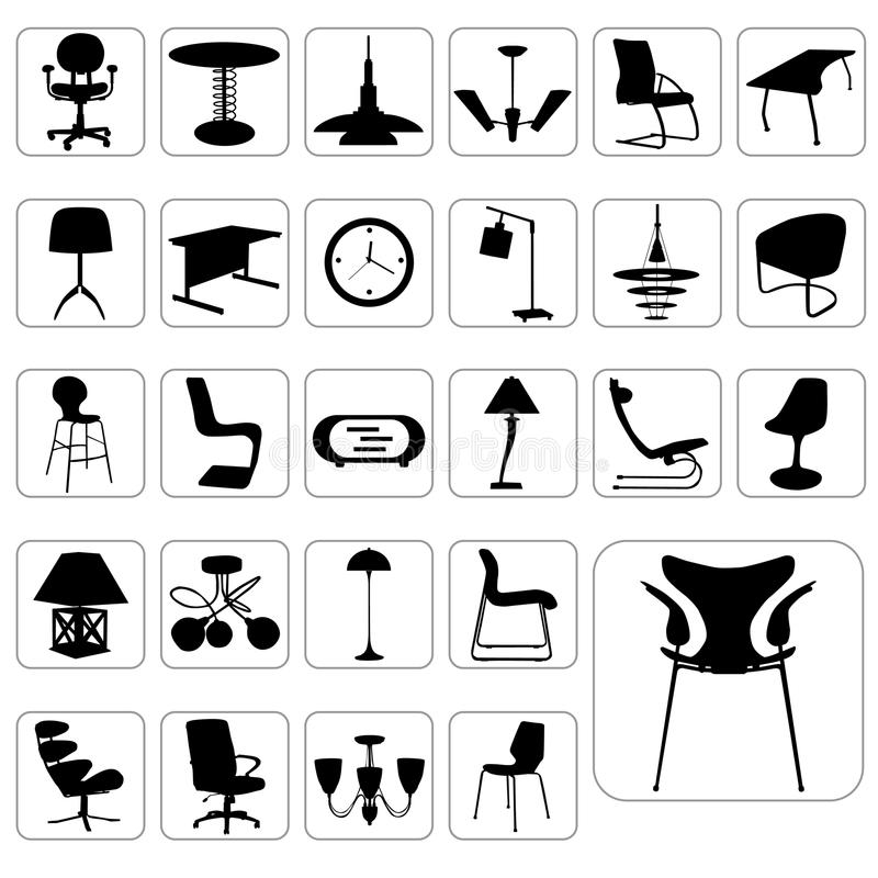Jogo grande do vetor moderno da mobília ilustração stock
