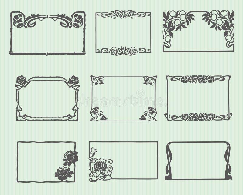 Jogo horizontal do frame de Nouveau da arte ilustração do vetor