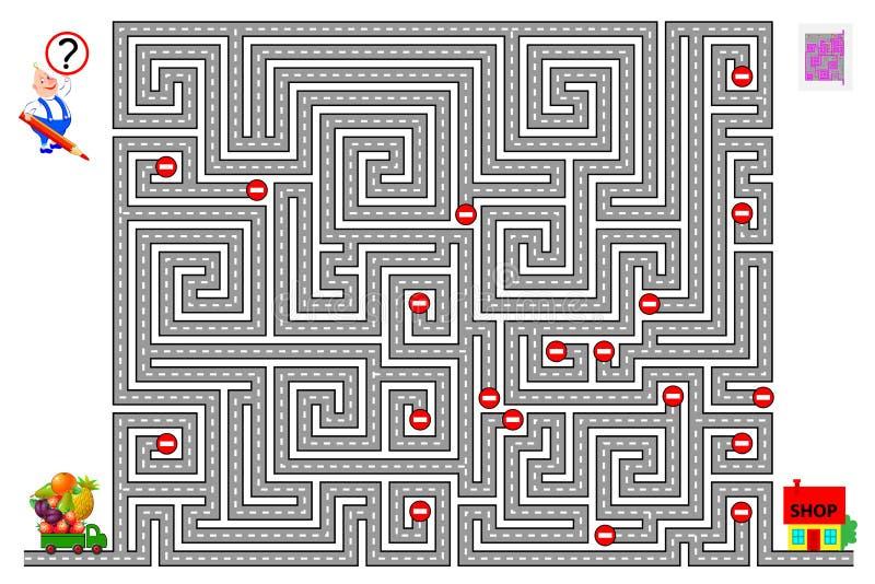 Jogo lógico do enigma com o labirinto para crianças Ajude o caminhão a encontrar a maneira e a entregar o alimento à loja que res ilustração royalty free