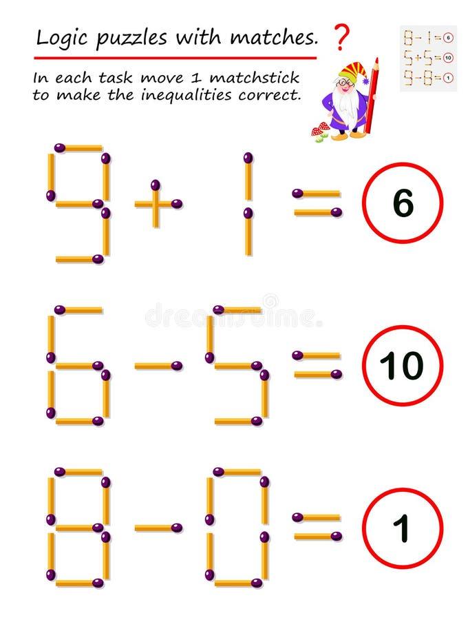 Jogo l?gico do enigma com f?sforos Em cada matchstick do movimento 1 da tarefa para fazer as desigualdades corretas ilustração stock