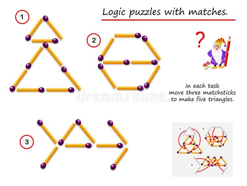 Jogo l?gico do enigma com f?sforos Em cada necessidade da tarefa de mover três matchsticks para fazer cinco triângulos ilustração royalty free