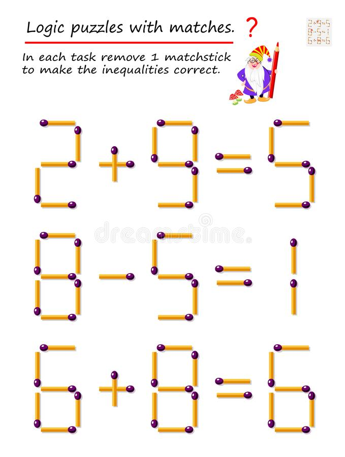 Jogo l?gico do enigma com f?sforos Em cada tarefa remova 1 matchstick para fazer as desigualdades corretas ilustração do vetor